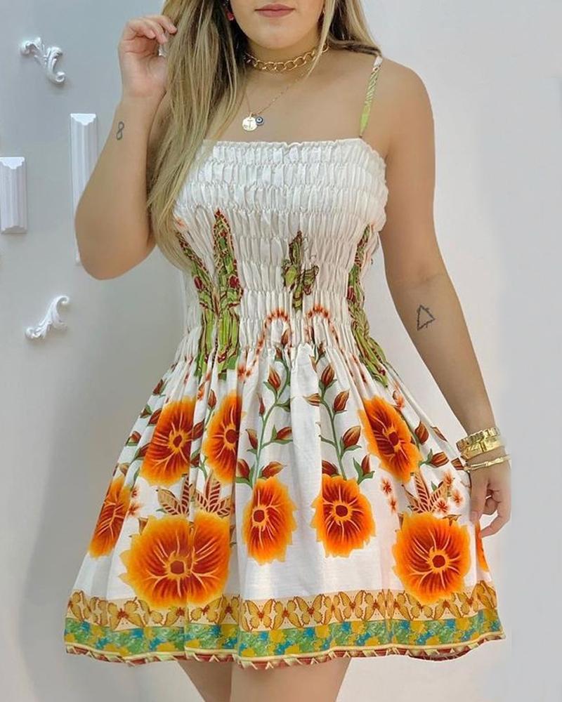 Robe froncée à bretelles spaghetti à imprimé floral