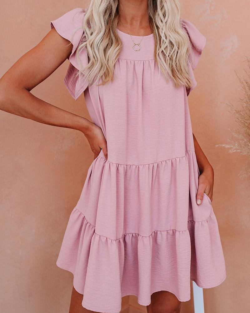 Ruffle Sleeve Mini Tunic Dress, boutiquefeel, pink  - buy with discount