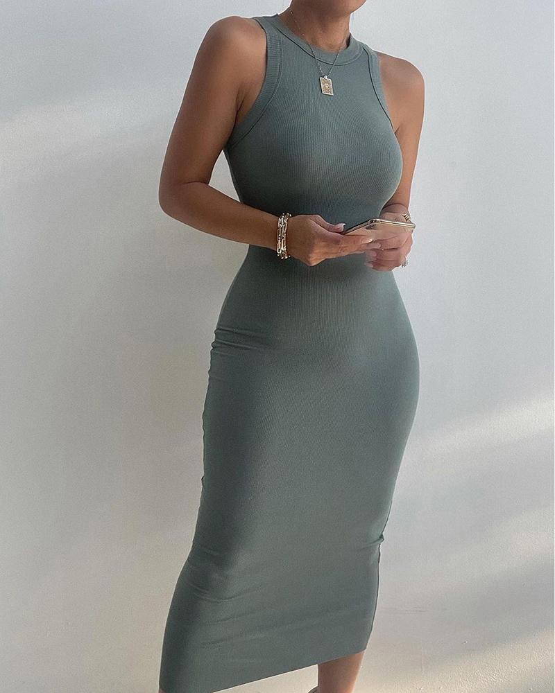 Sleeveless Basic Skinny Midi Dress