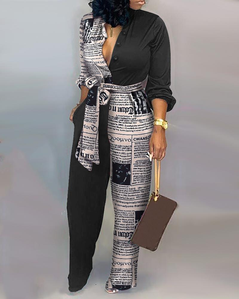 Letter Print Casual Knotted Jumpsuit Loose Casual Jumpsuit