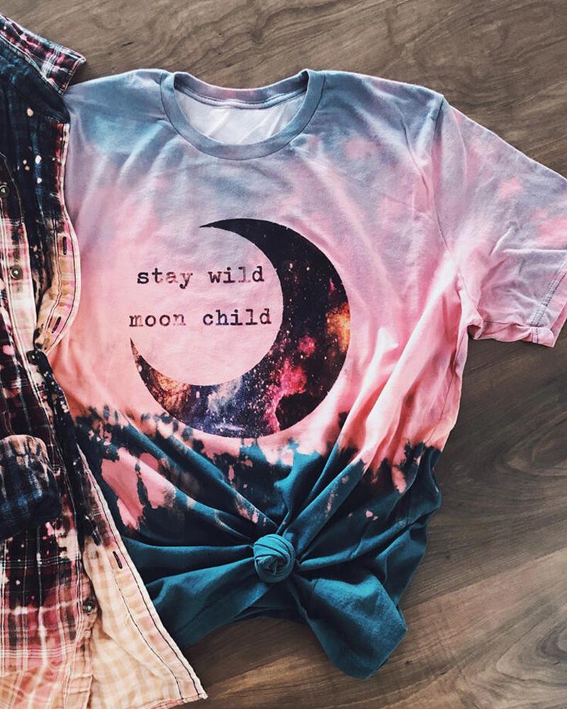 Ivrose coupon: Tie Dye Letter Graphic Print Short Sleeve T-shirt