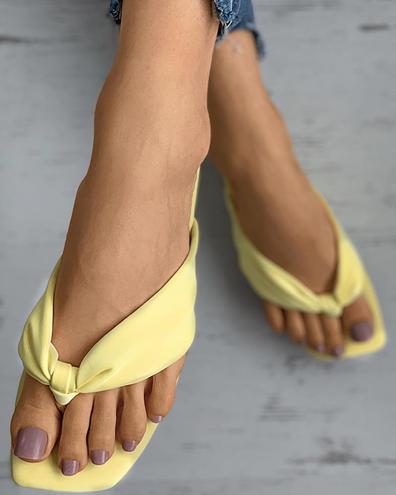Bowkont Design Square Toe Flip Flops