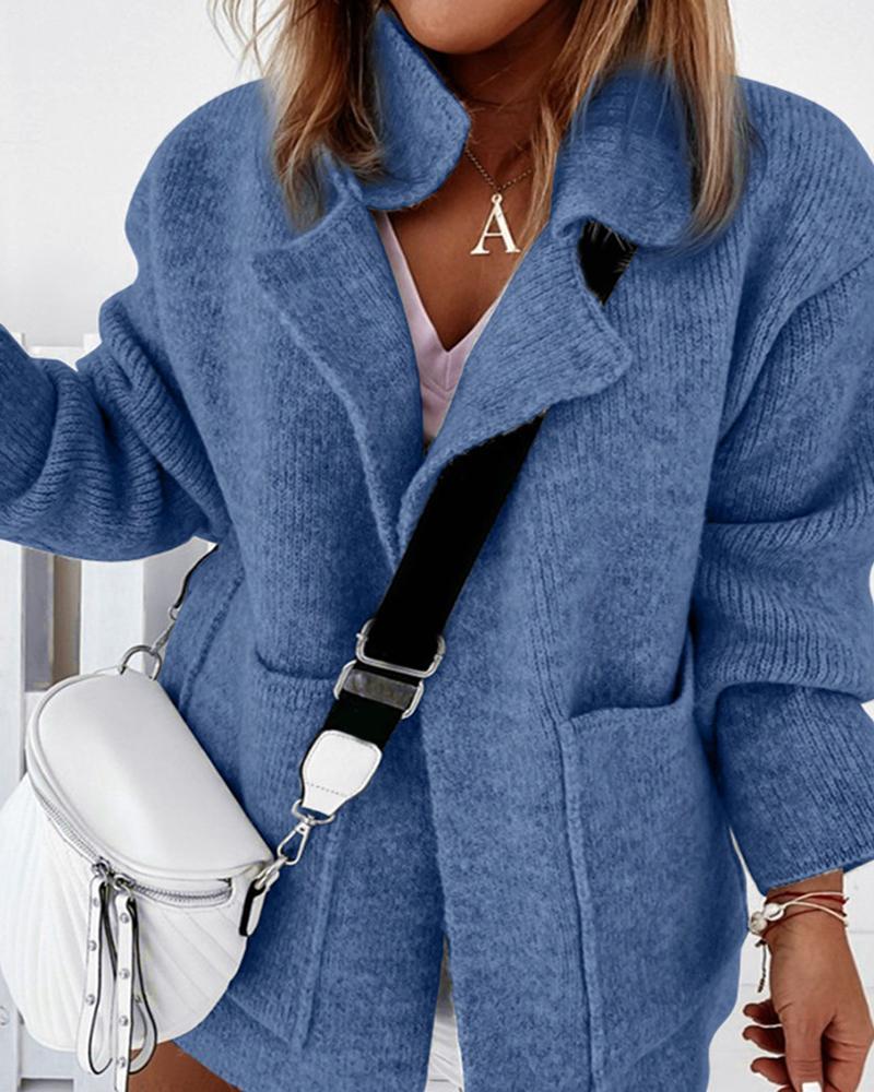 ChicMe coupon: Plain Pocket Design Long Sleeve Knit Cardigan