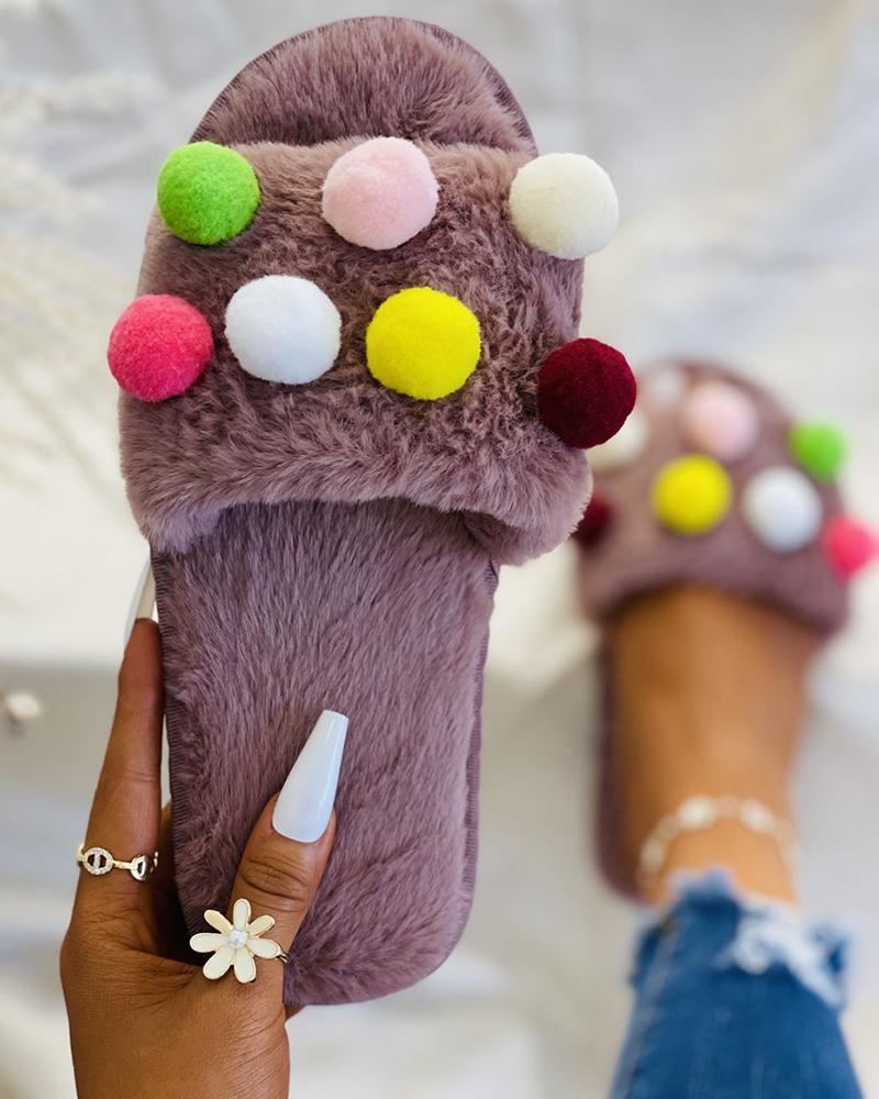 Colorful Pom Pom Decor Fluffy Slippers