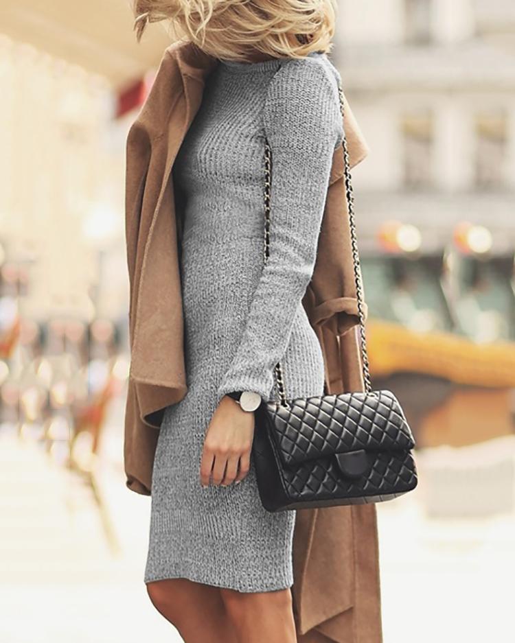 Joyshoetique coupon: Autumn Long Sleeve Bodycon Dress - Gray