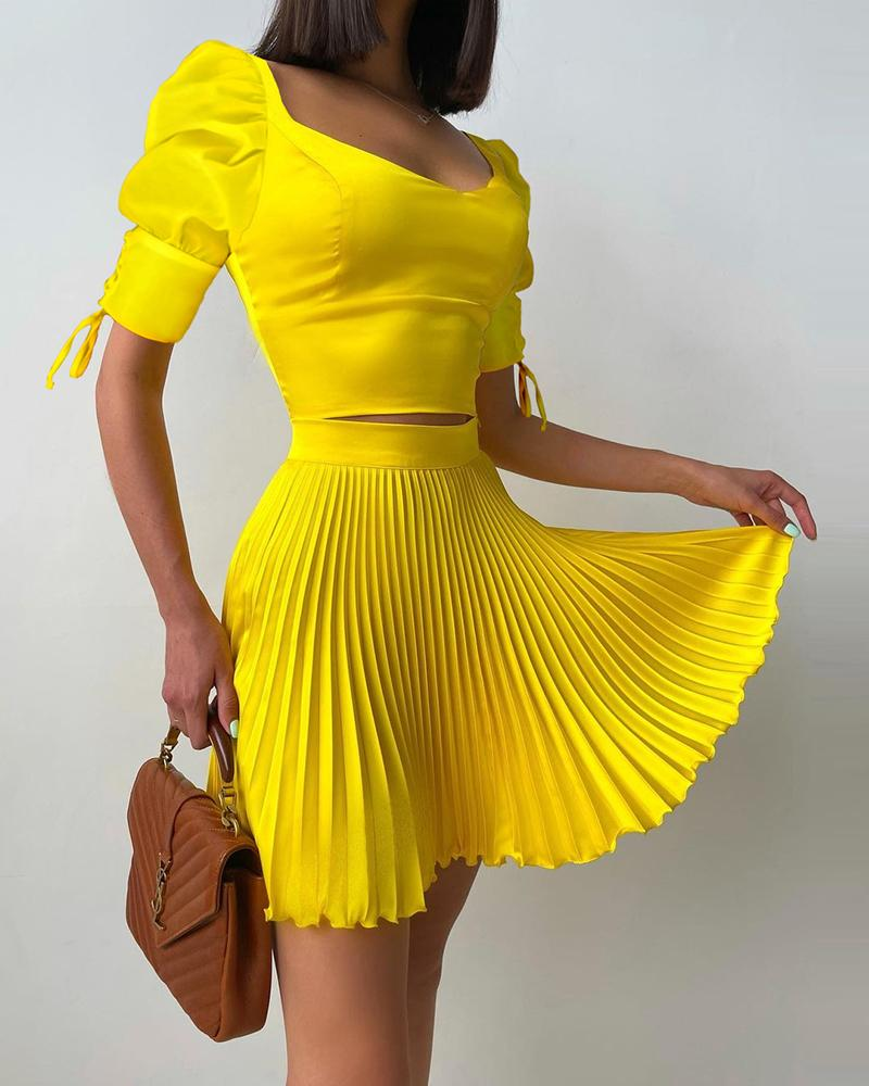 Puff Sleeve Top & Frill Hem Pleated Skirt Set