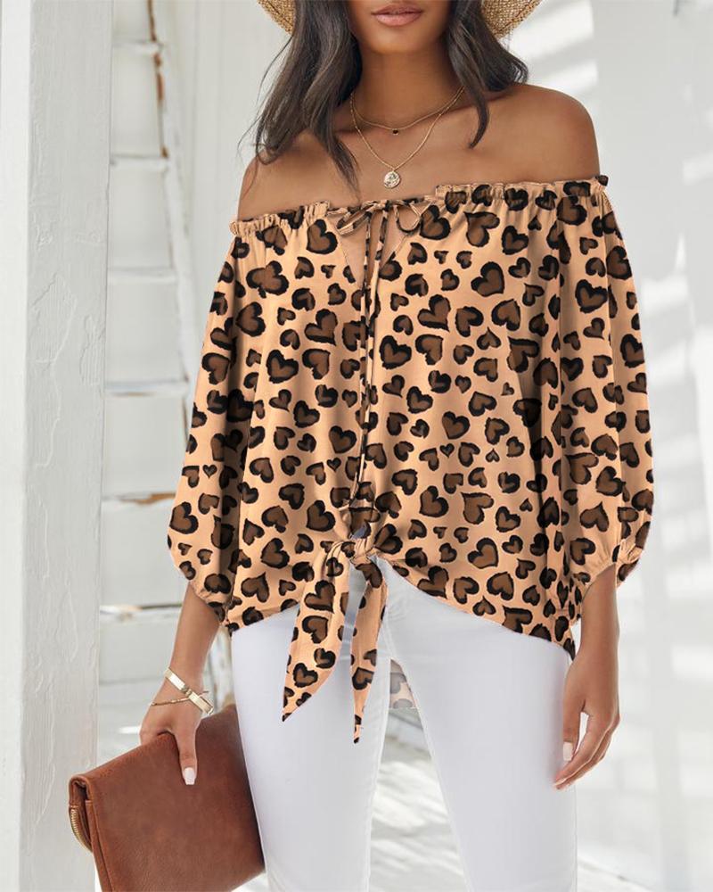 Off Shoulder Leopard Print Frill Hem Long Sleeve Top
