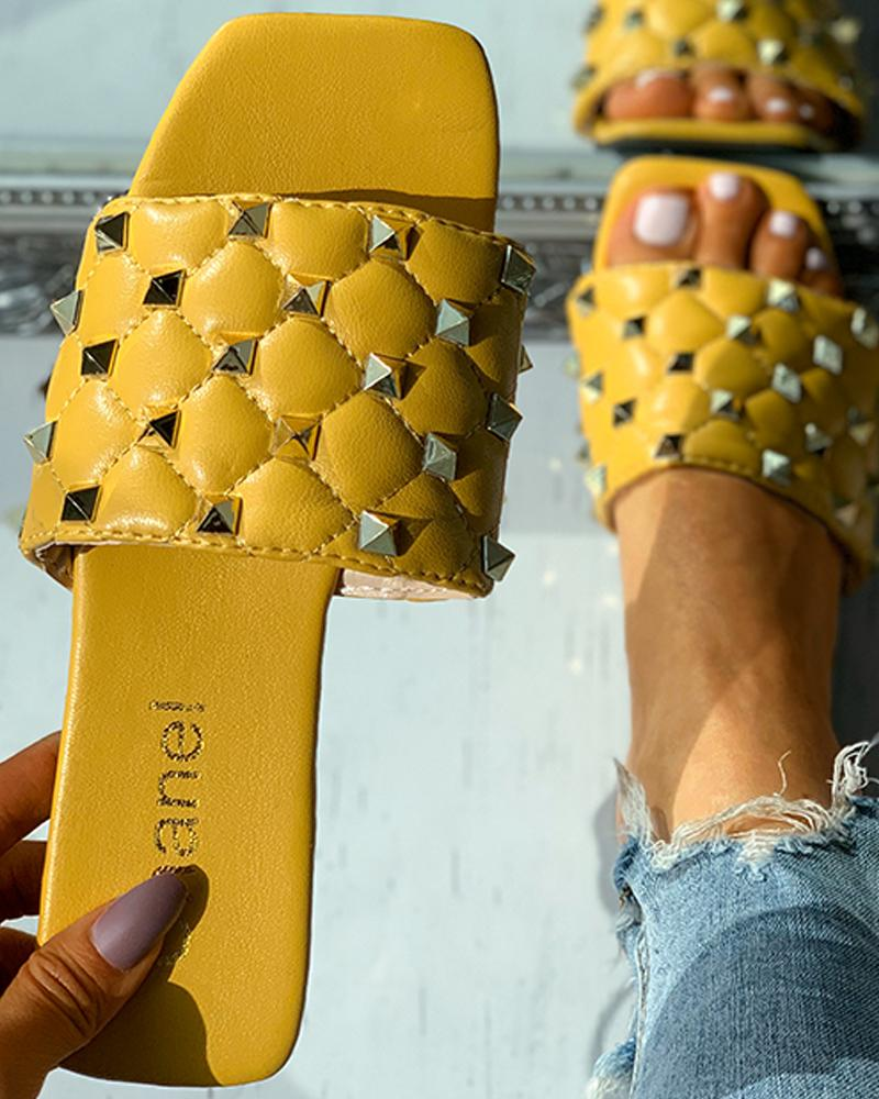 Quilted Rivet Decor Square Toe Flat Sandals thumbnail