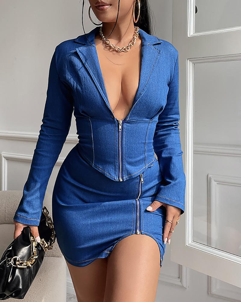 Denim Zipper Design Corset Top & Slit Skirt Set