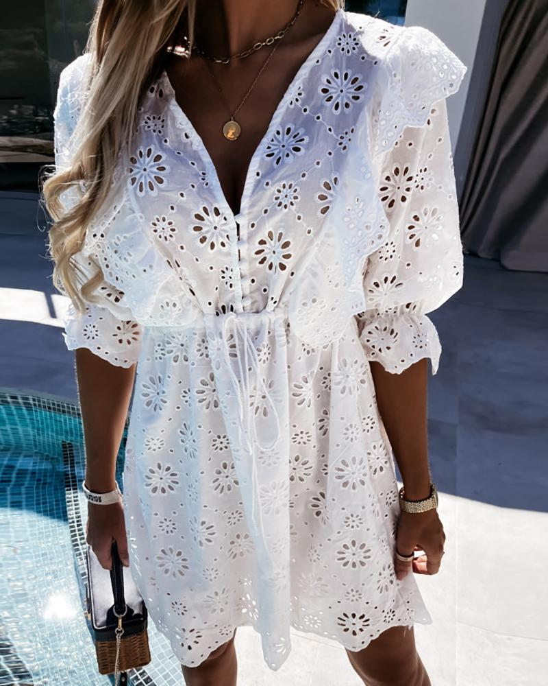 Eyelet Embroidered Button Design Casual Dress