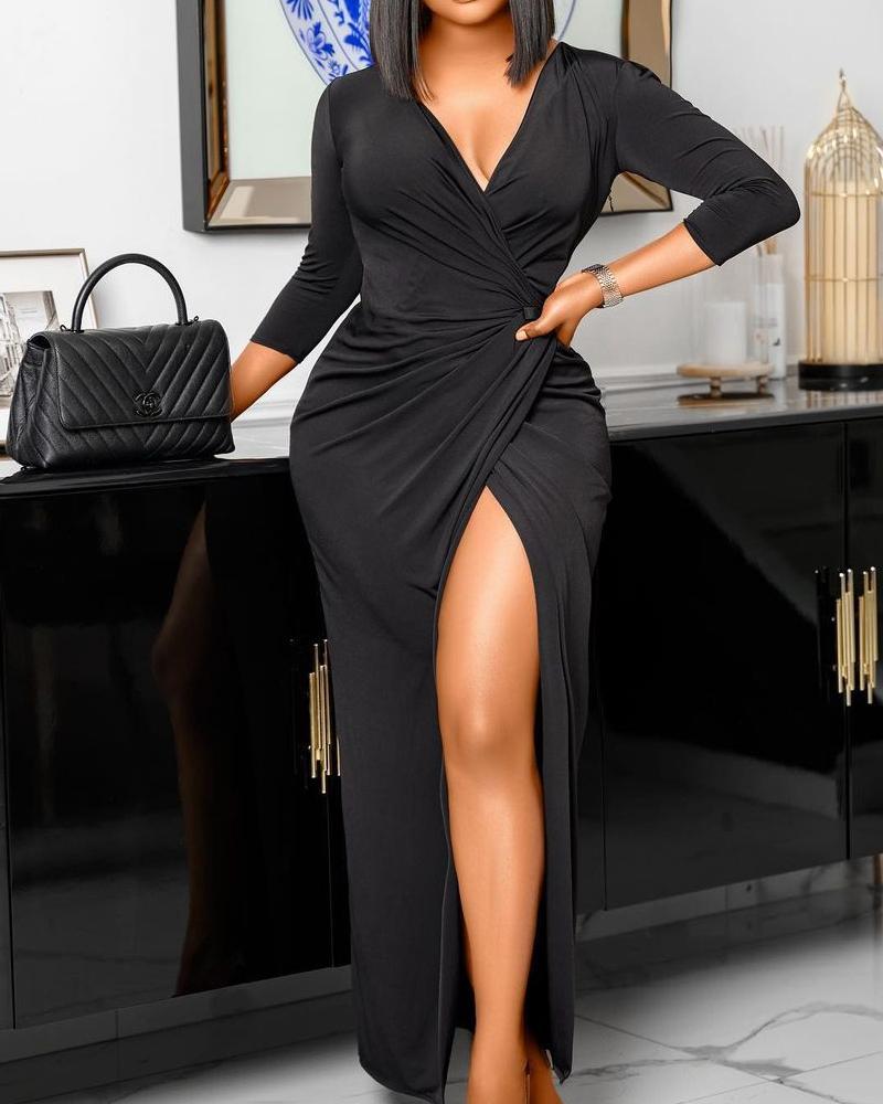 V-Neck Wrap Split Thigh Ruched Maxi Dress
