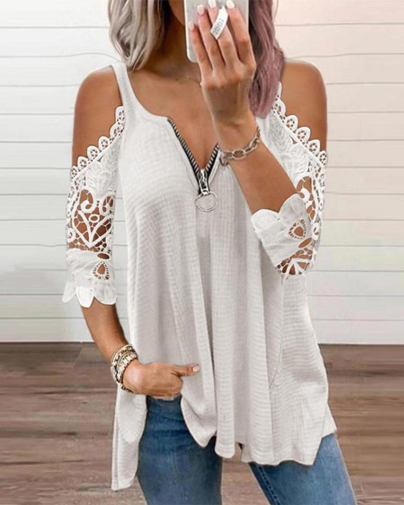 Cold Sleeve Zipper Front Lace Trim Top