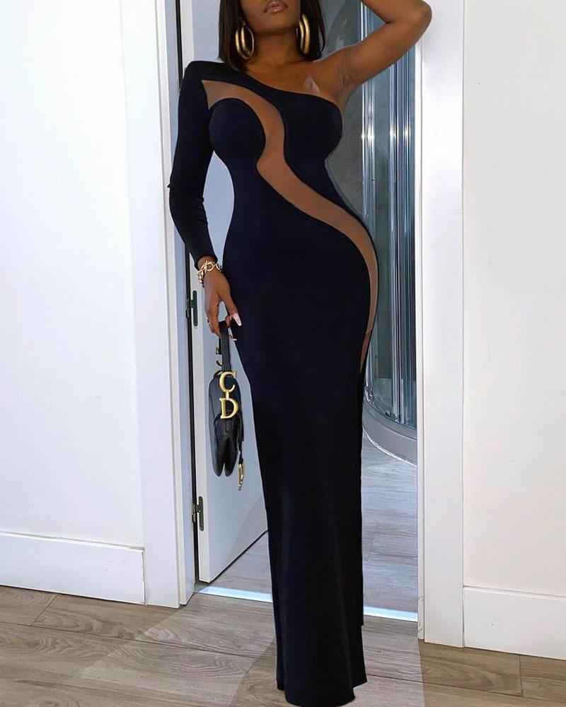 One Shoulder Contrast Mesh Split Thigh Maxi Dress
