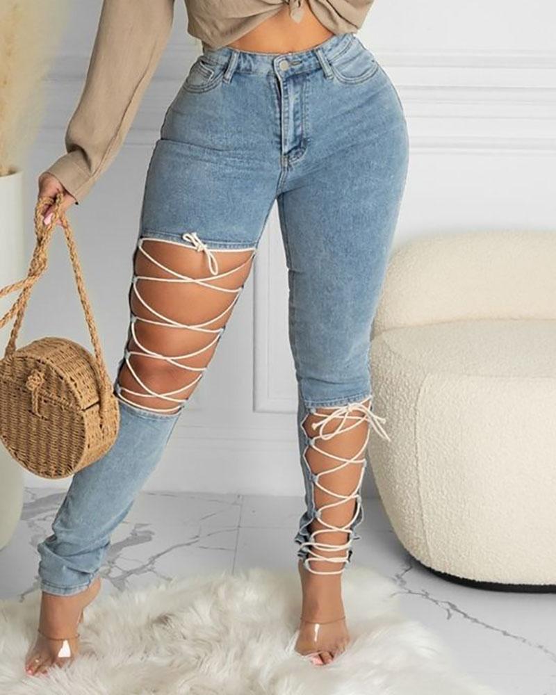 Lace-up Cutout Single Button High Waist Jeans