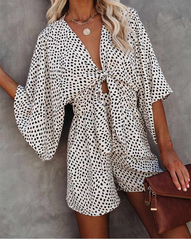 Dot Print Short Sleeve Loose Lace-up Rompers