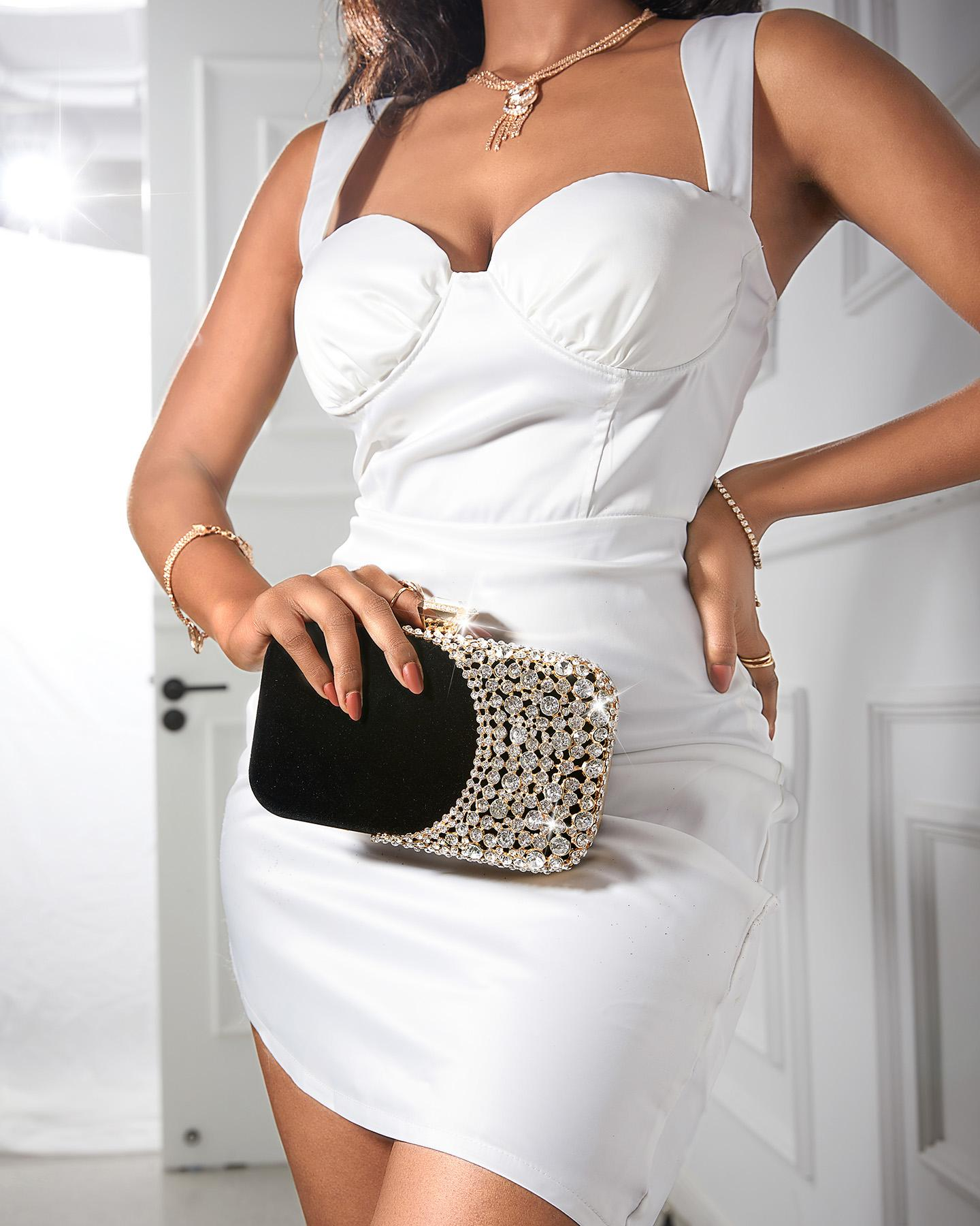 Rhinestone Decor Velvet Clutch Bag Wedding Event Handbags