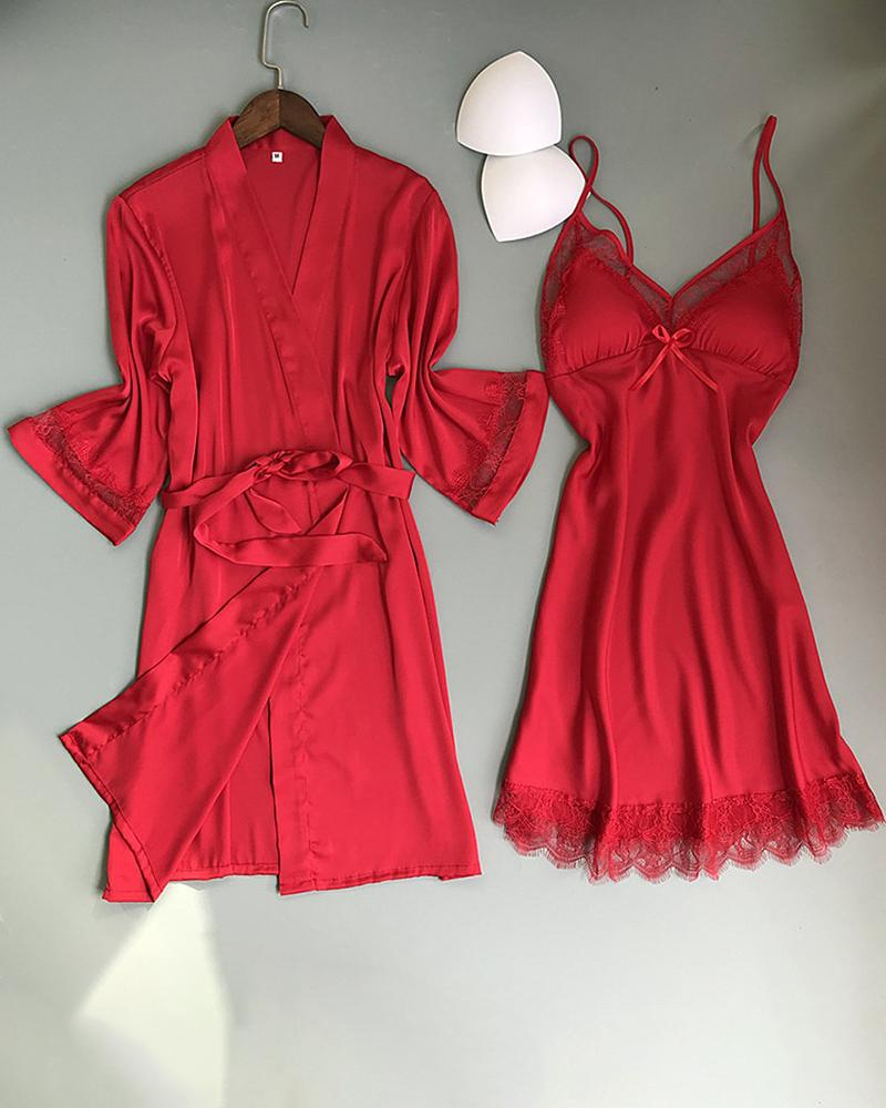 Contrast Lace Satin Long Sleeve Robe With Babydoll, Red