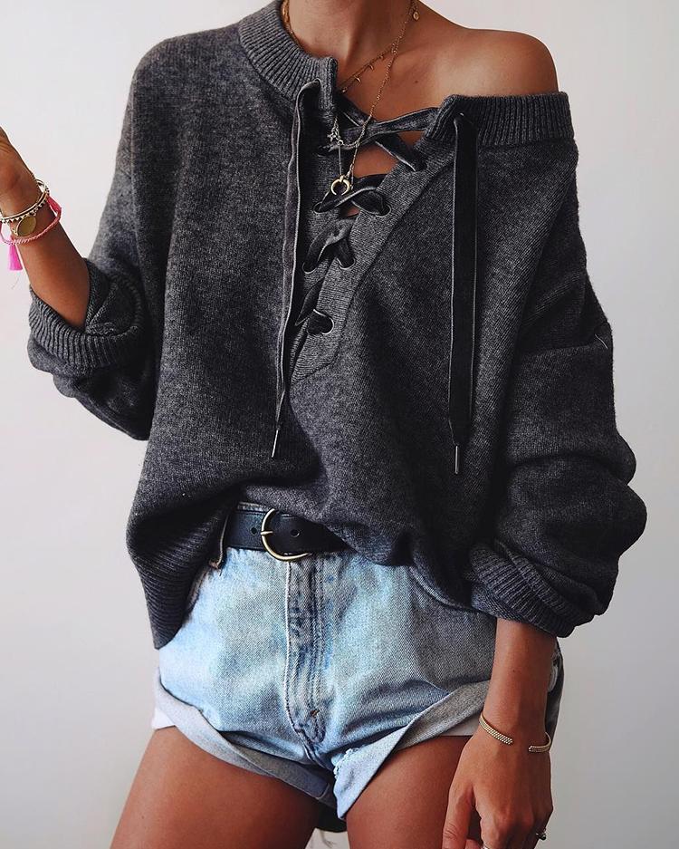 Joyshoetique coupon: Solid Eyelet Lace-Up Elastic Hem Knitted Sweater - Dark Grey