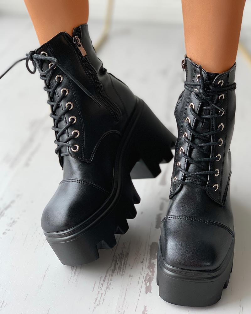 Zipper Design Eyelet Lace-up Combat Boots
