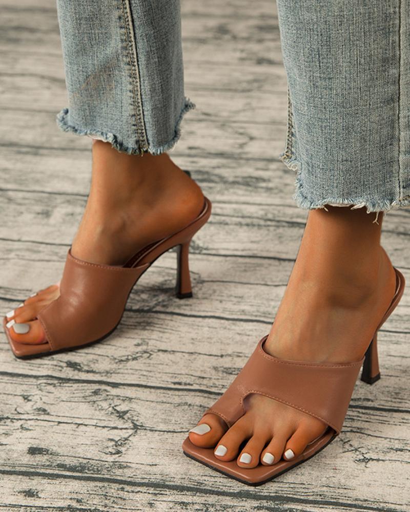 Solid Post-toe Sqaure-toe High Heel Sandals