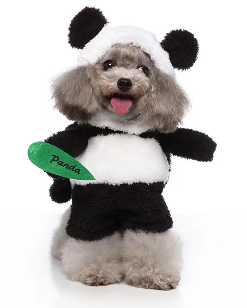 Dog Costume Panda Cosplay Hooded Sweater Warm Dog Cat Costume Halloween Christmas Dog Costume