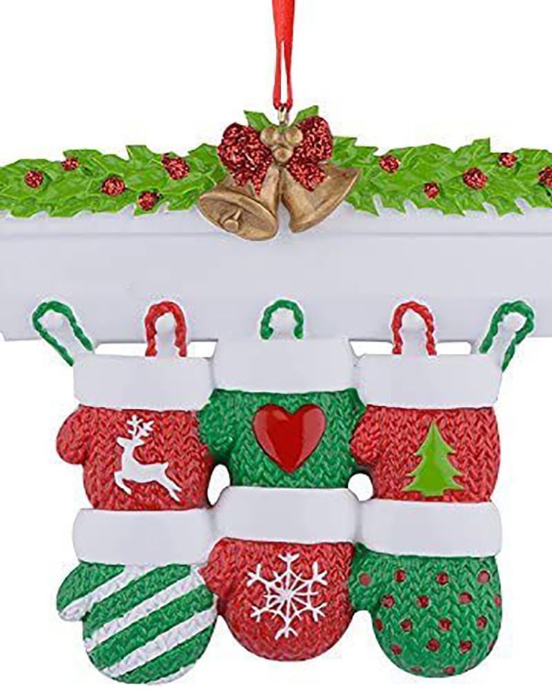 Mitten Family Christmas Tree Ornament 2021 Knit Winter Stocking Gloves Parent Children Friend Glitter Gift