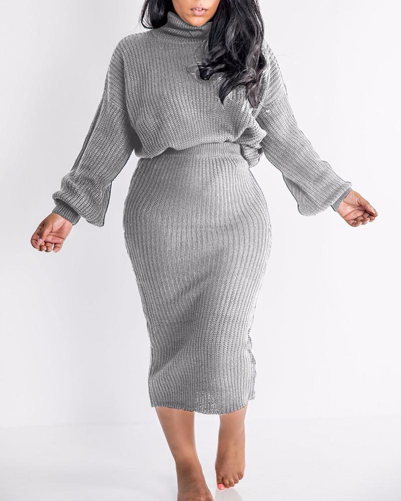 Lantern Sleeve High Neck Sweater & Skirt Set