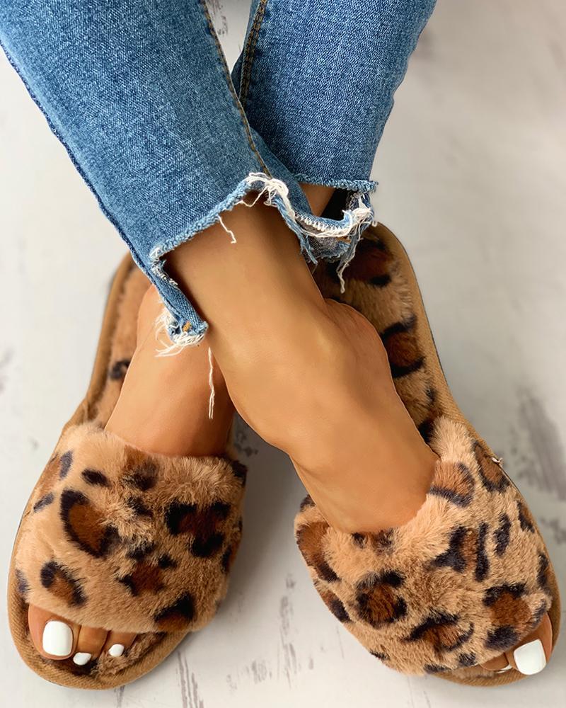 Fluffy Leopard Open Toe Flat Slippers