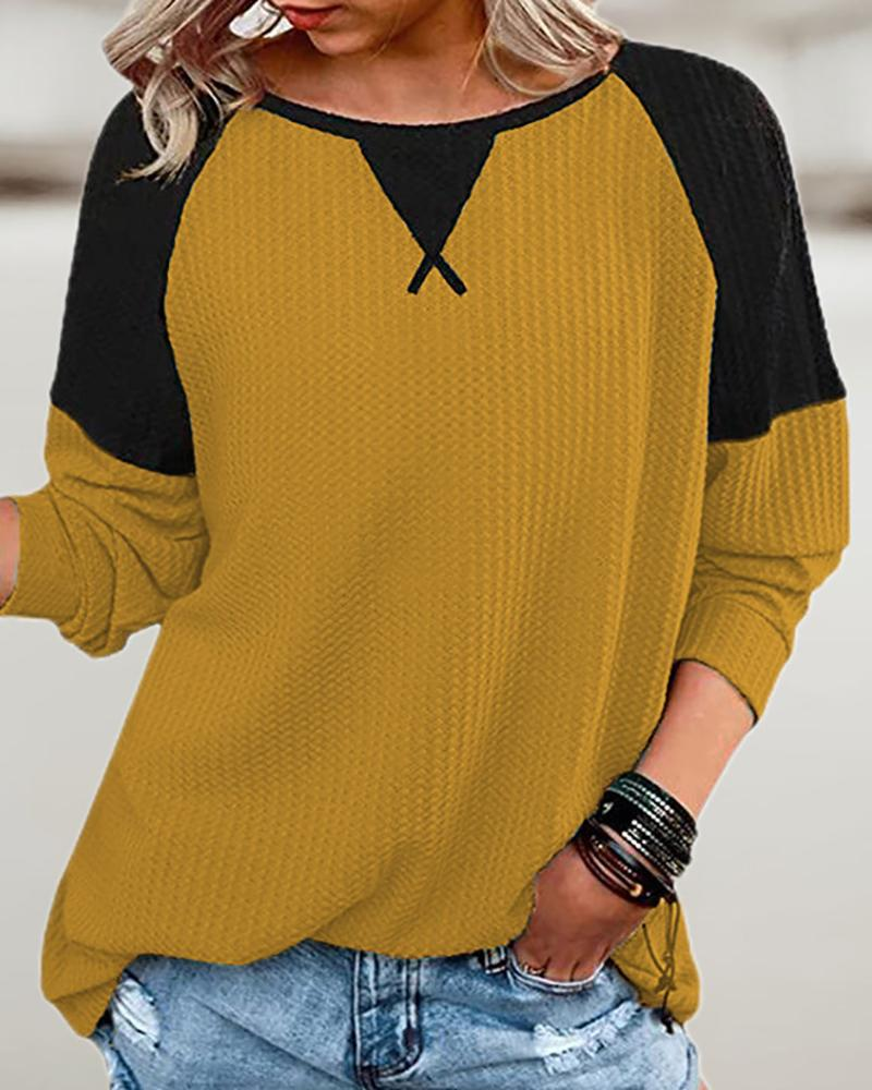 Long Sleeve Colorblock Waffle Knit Top