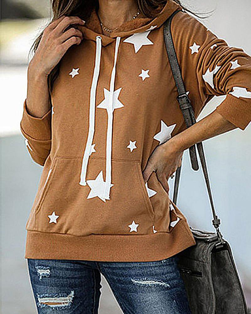 Star Print Pocket Design Hooded Sweatshirt