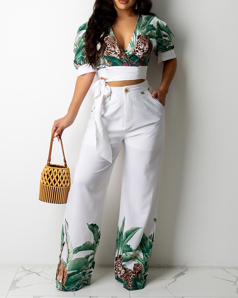 Tropical Animal Print V-Neck Tie Front Crop Top & Wide Leg Pants Set
