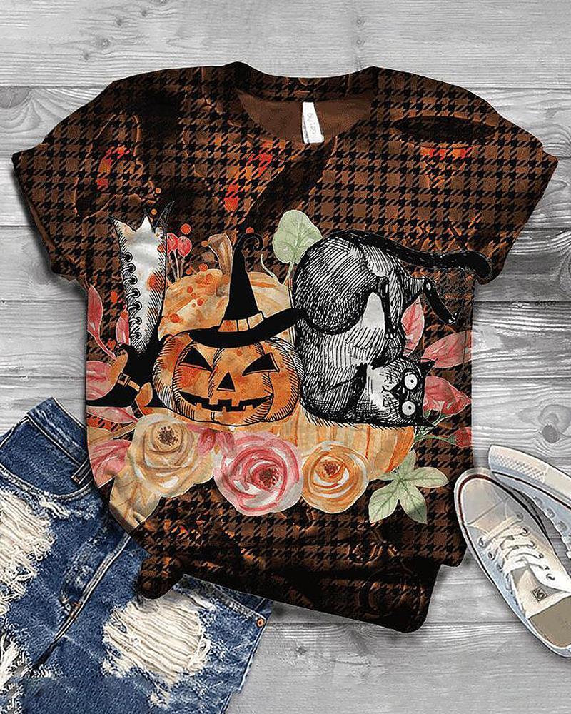 Halloween Houndstooth Pumpkin Print Short Sleeve Top