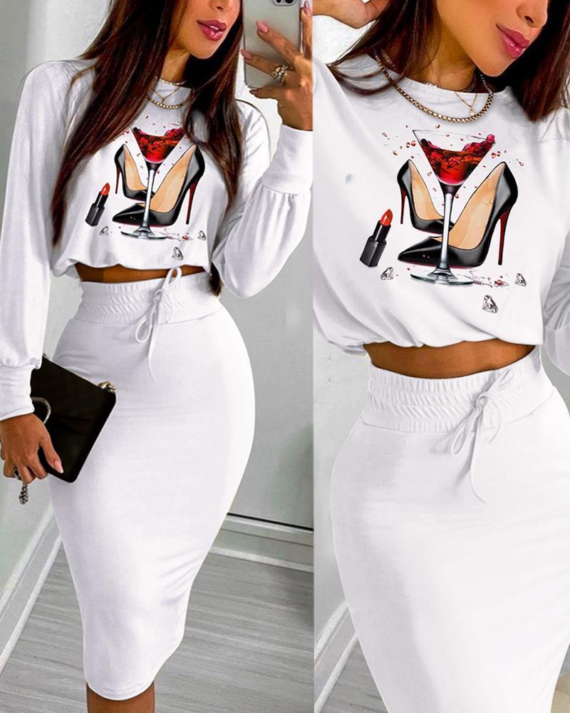 Graphic Print Long Sleeve Top & Drawstring Shirred Skirt Set