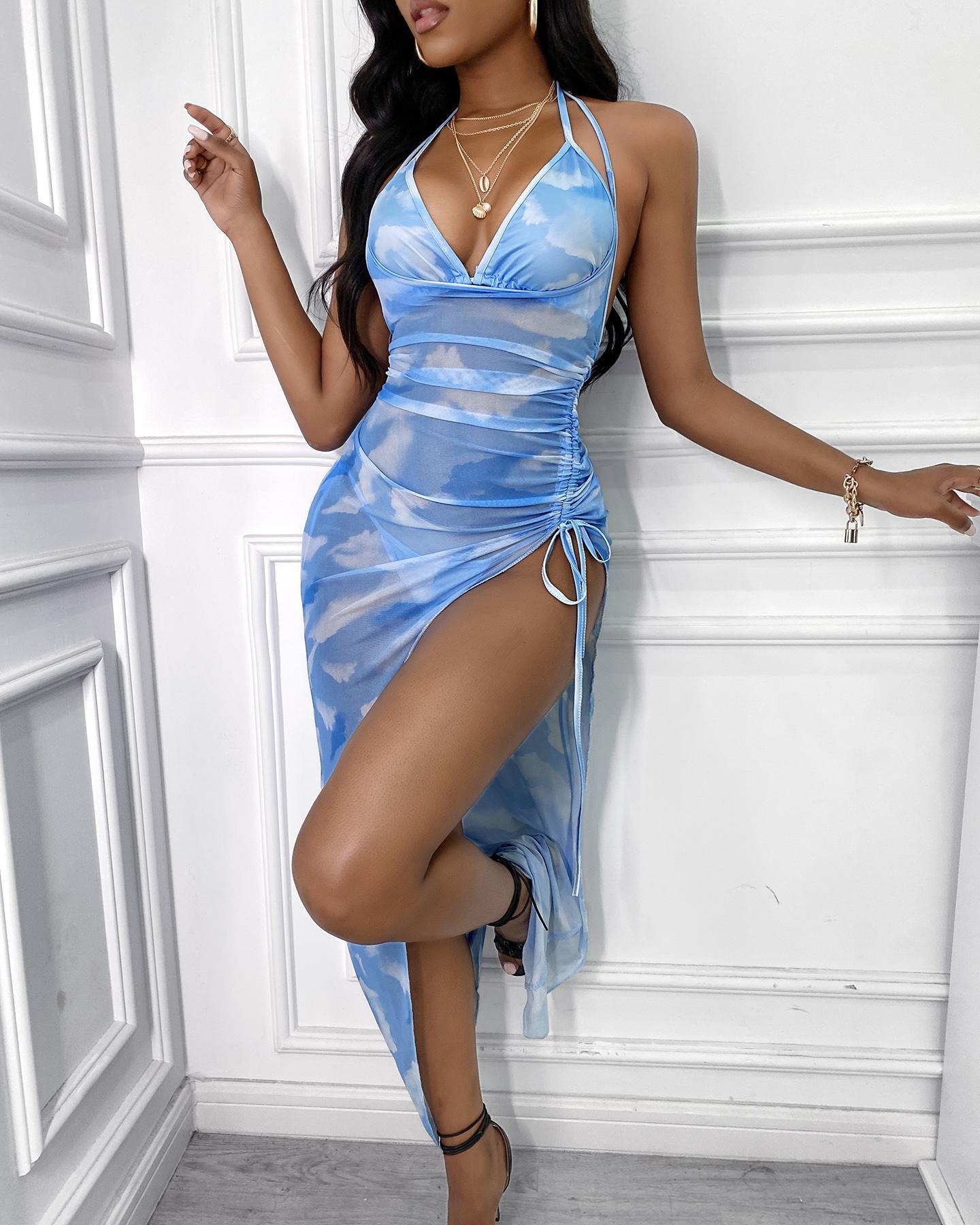 Tie Dye Print Halter Bikini Set With High Slit Drawstring Cover Up Dress