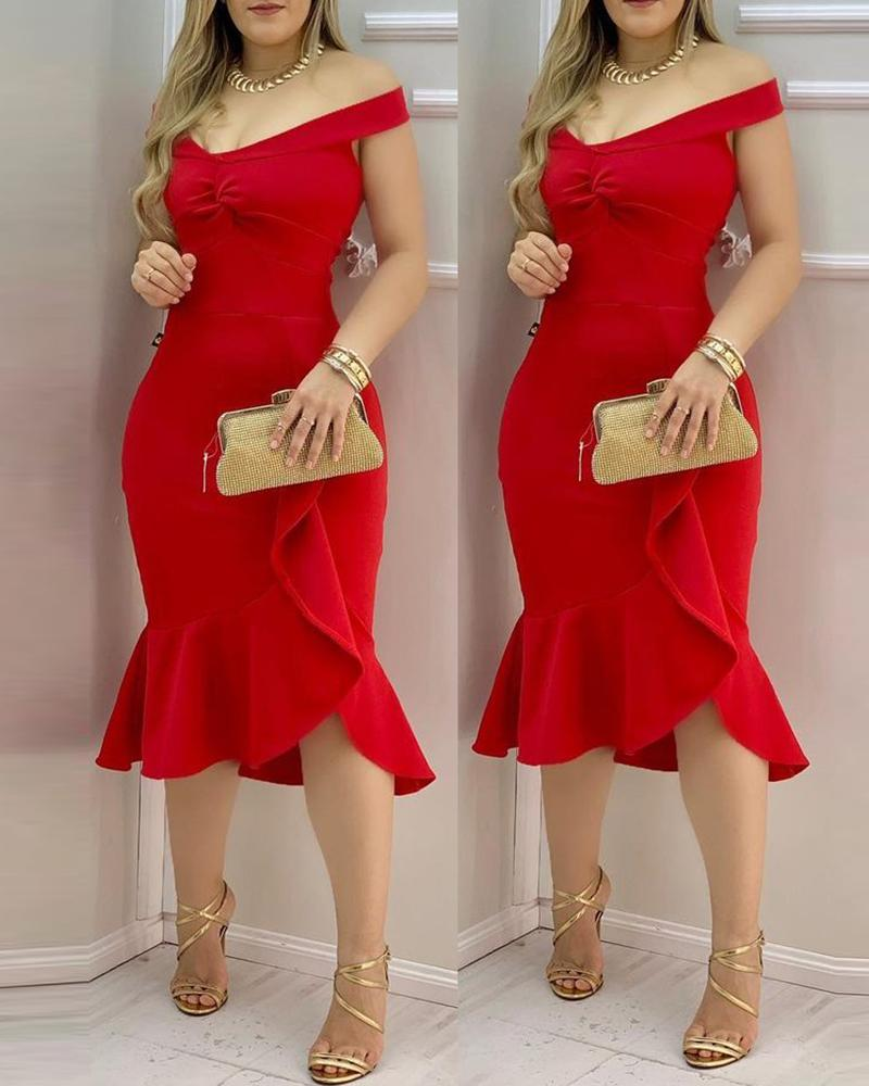 Off Shoulder Twisted Ruffle Hem Dress, Red