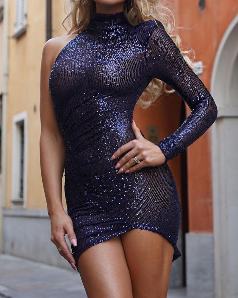 Asymmetrical Slit Backless Sequin Dress