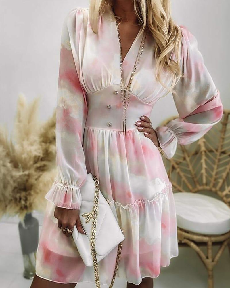 Tie Dye Frill Hem Shirred Back Dress
