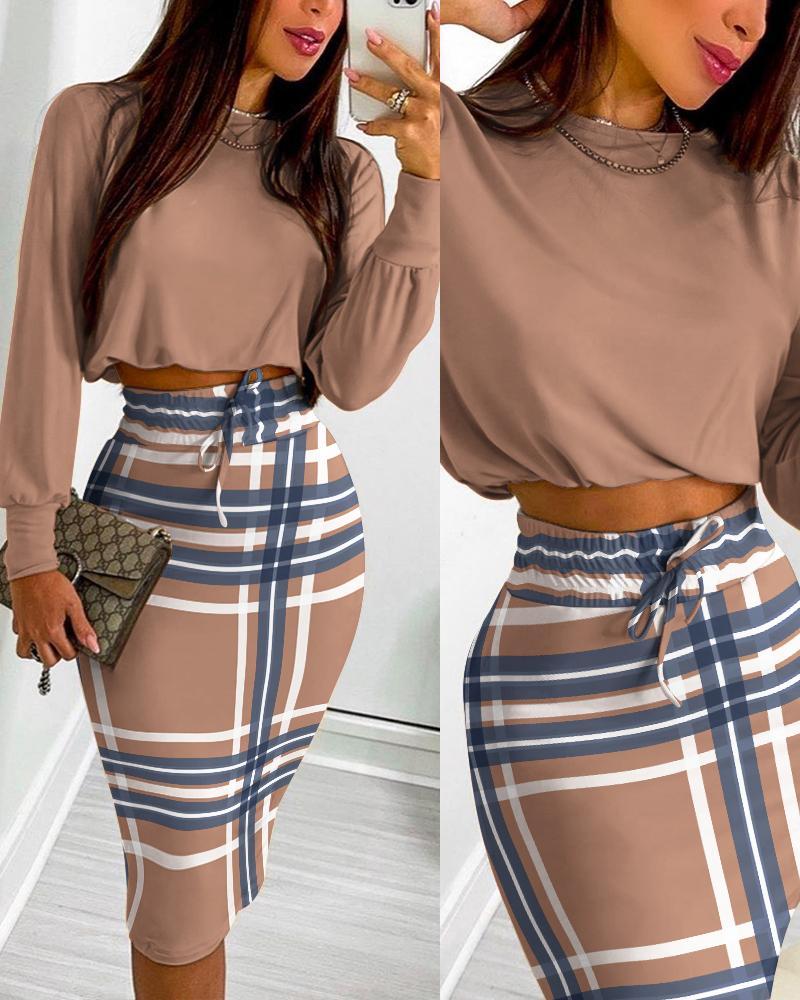 Long Sleeve Crop Top & Drawstring Plaid Skirt Set