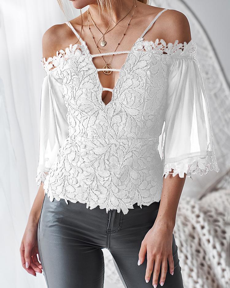 Boutiquefeel coupon: Cold Shoulder Guipure Lace Zipper Back Blouse
