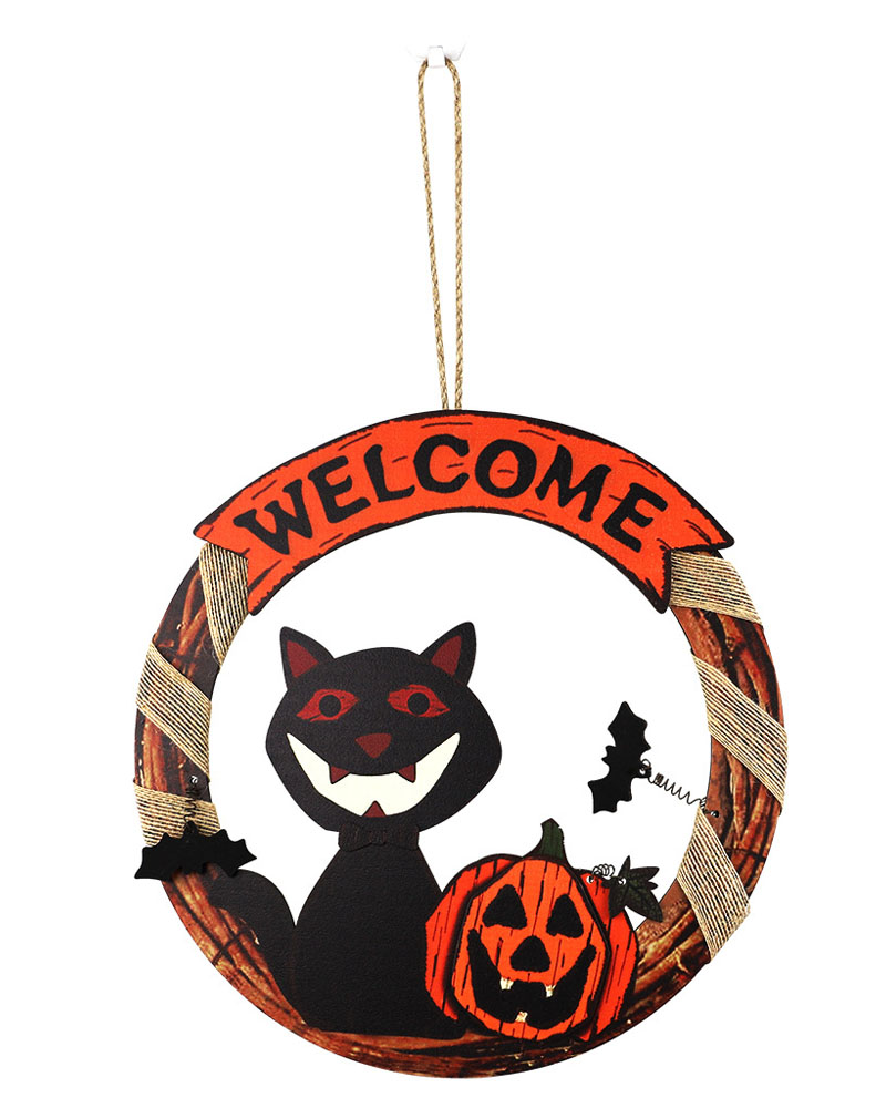 Halloween Door Hanging Welcome Sign & Wall Signs Happy Halloween Wooden Plaque Board Sign Decor For Home Outdoor Haunted House Halloween Decorations Trick Or Treat