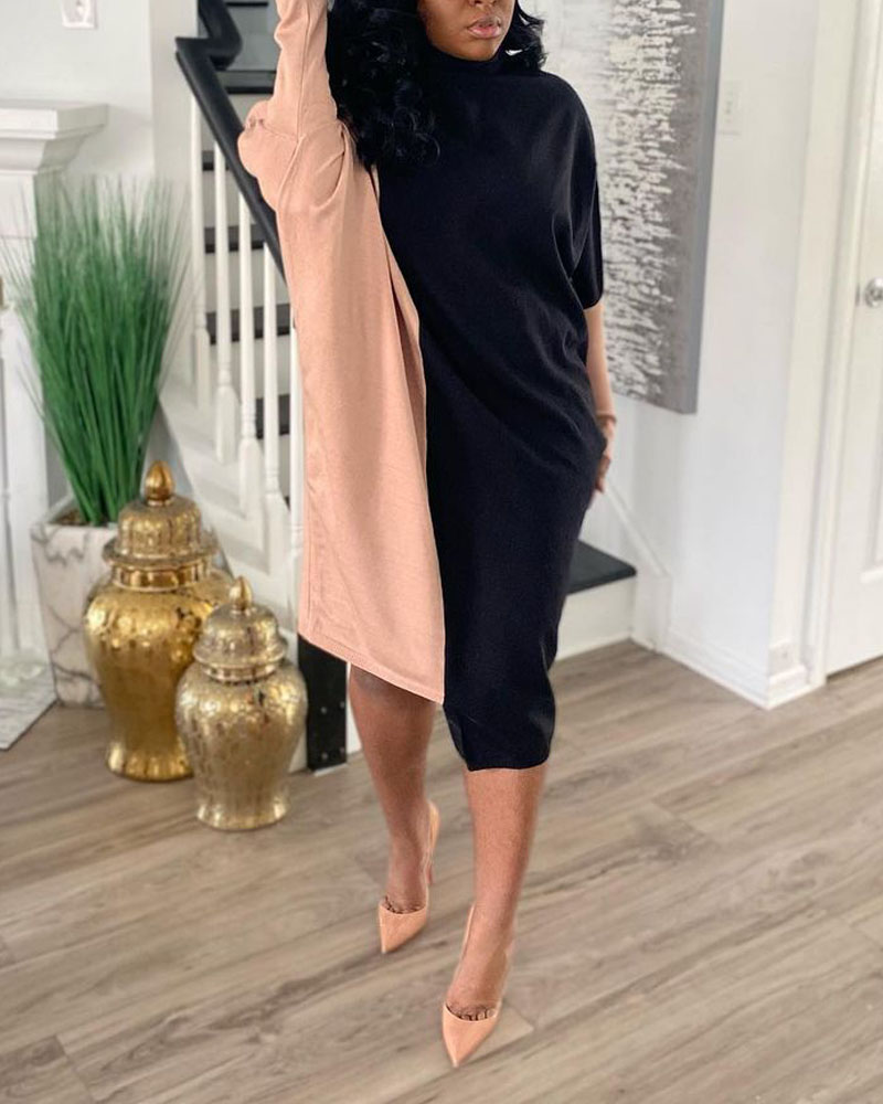 Colorblock High Neck Asymmetrical Casual Dress, Pink