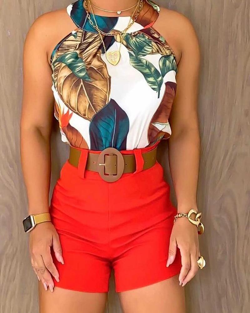 Tropical Print Sleeveless Halter Top & Shorts Set