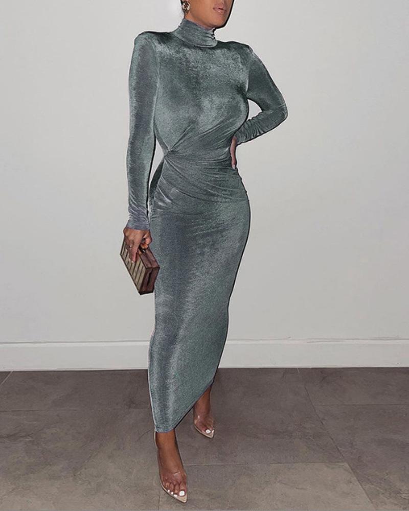 Shoulder Pad Long Sleeve Ruched Skinny Maxi Dress