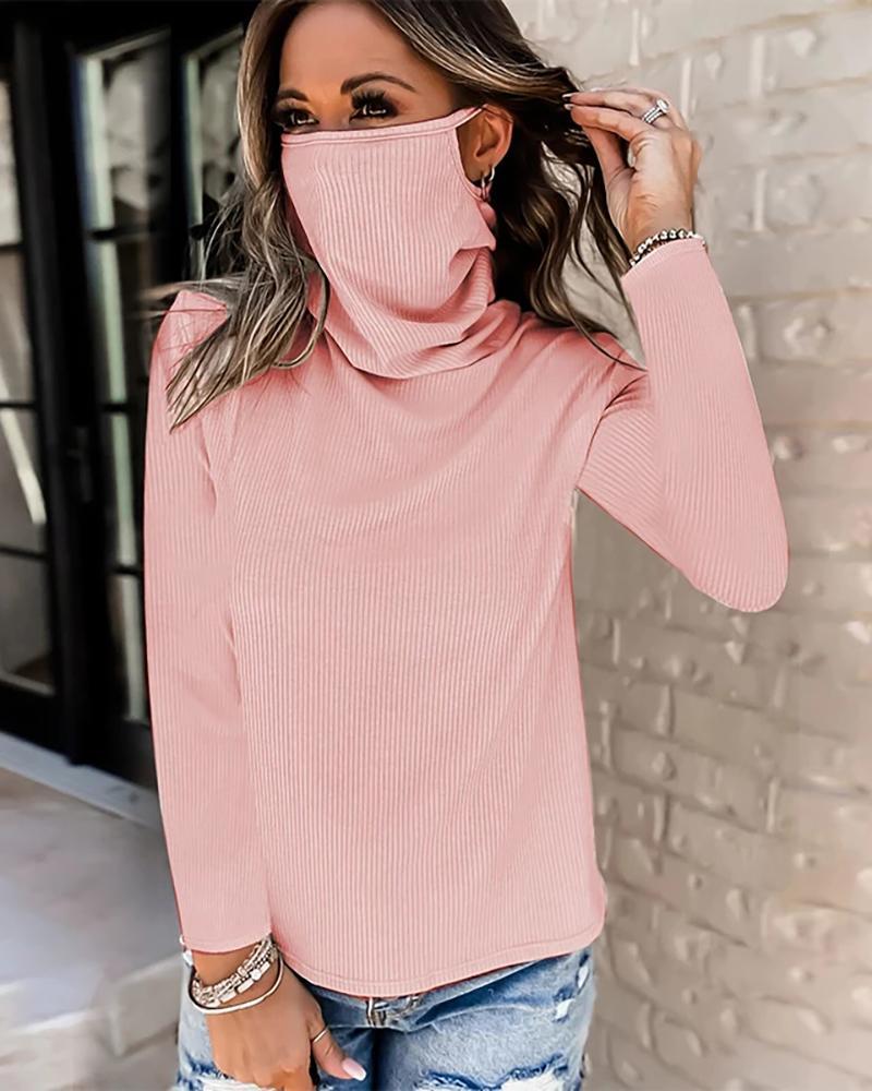 Plain Face Mack Design Long Sleeve Top