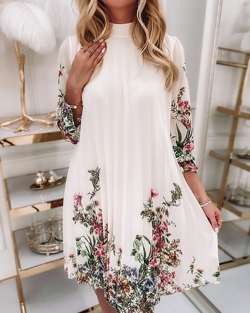 Half Sleeve Floral Print Ruched Dress