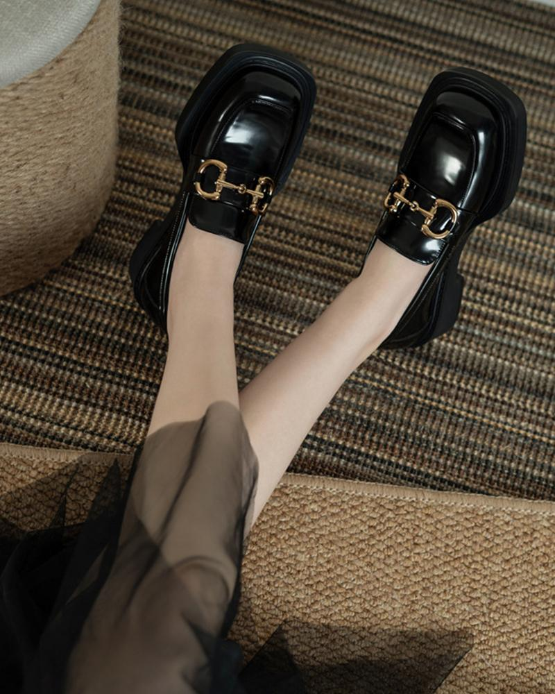 Square-toe Splicing Buckle PU Leather Loafers