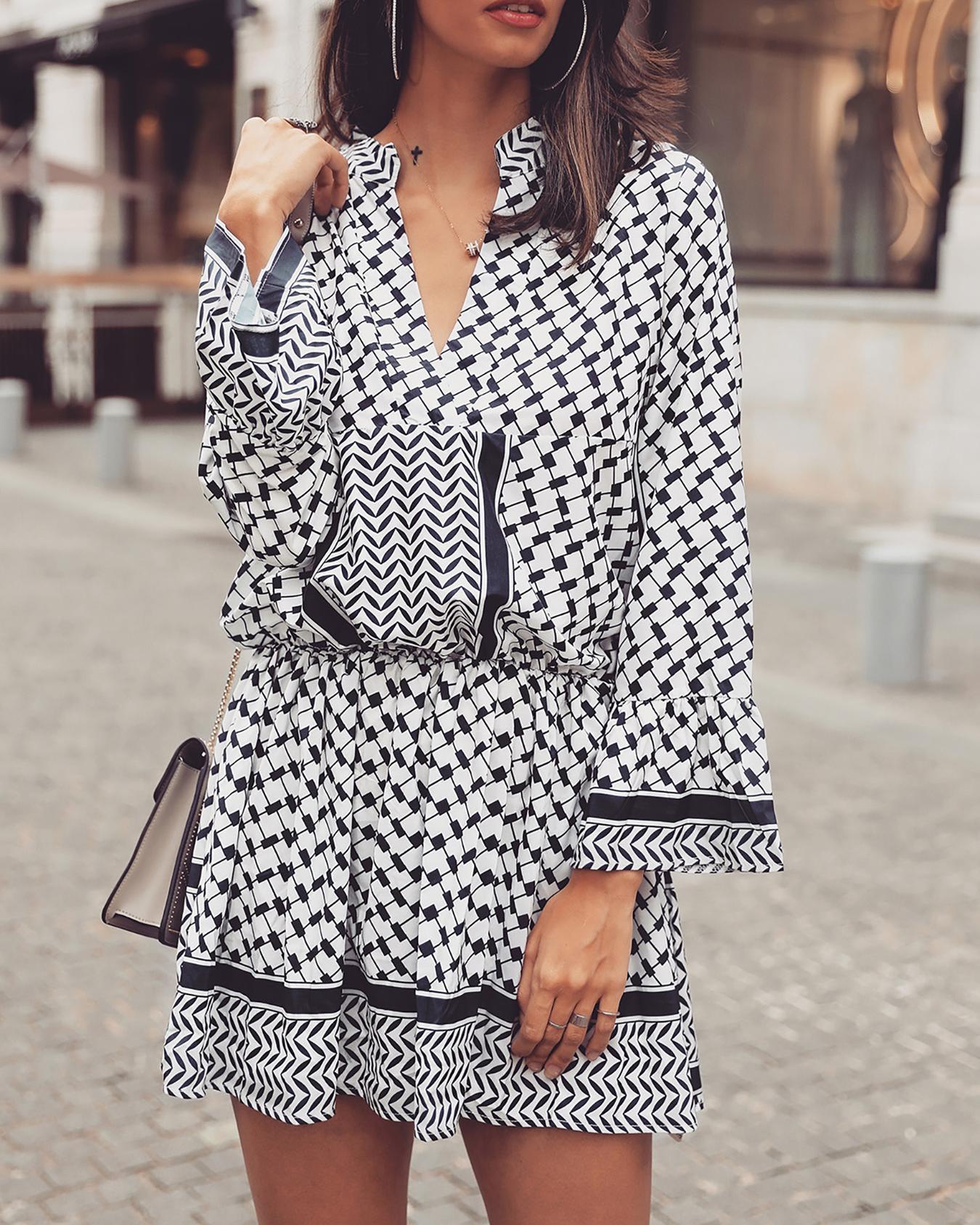 ChicMe coupon: Ethnic Print Long Sleeve Elastic Waist Casual Dress