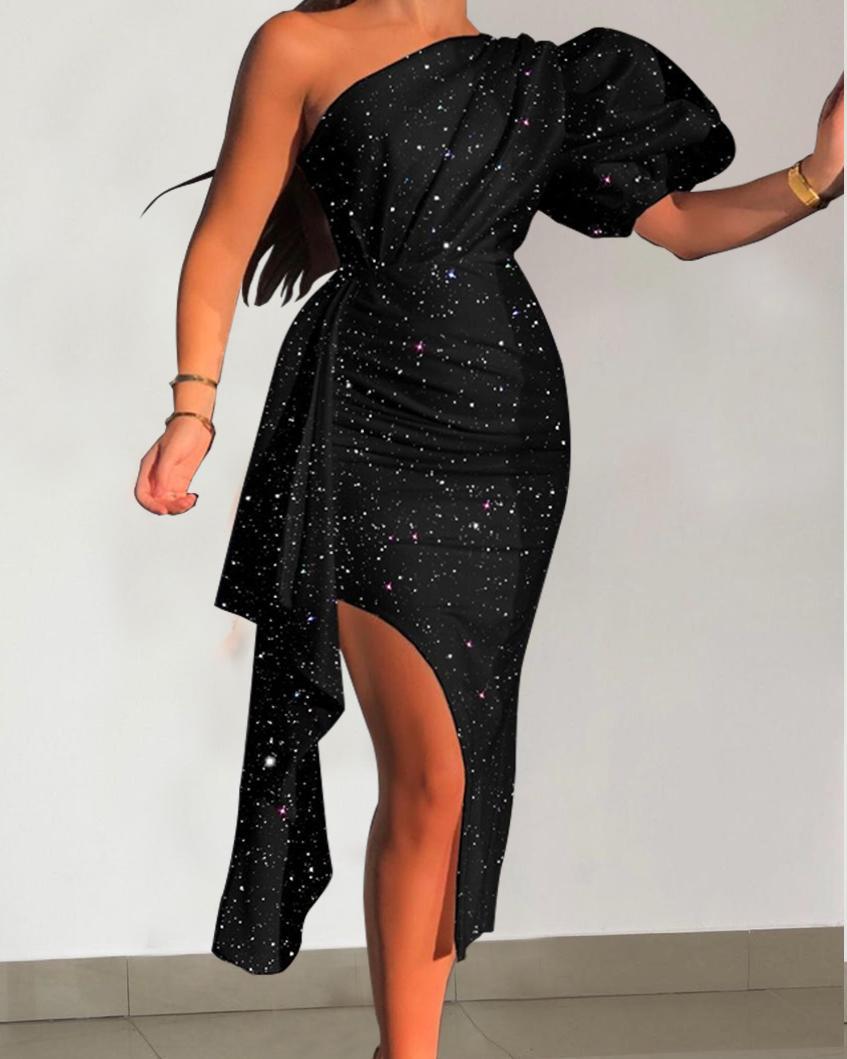 Sparkling Print One Shoulder Slit Ruched Dress