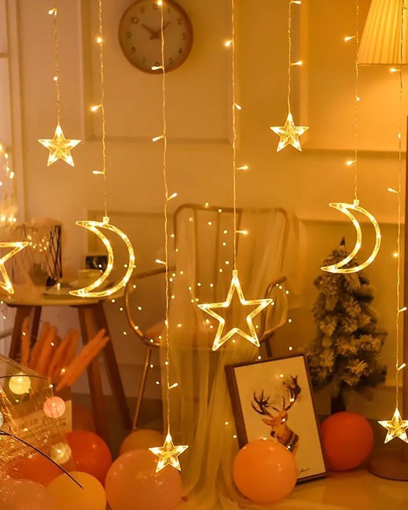 Star Moon Curtain Lights 120 LED Moon Star Christmas Lights Star Light Decoration Wedding Christmas Tree Party Garden Indoor Outdoor