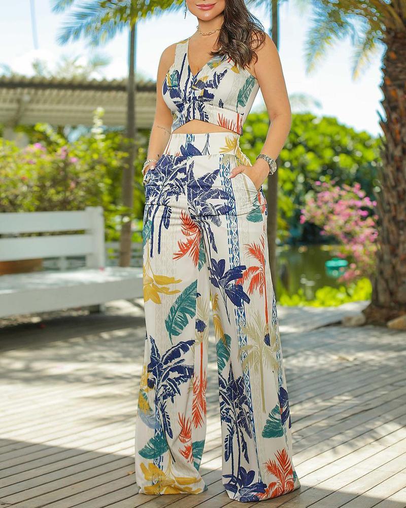 Tropical Print V Neck Sleeveless Top & Pants Set